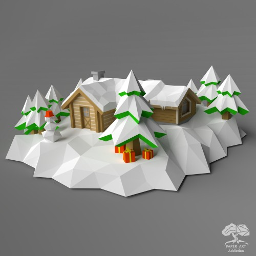 Log Cabin house Diorama