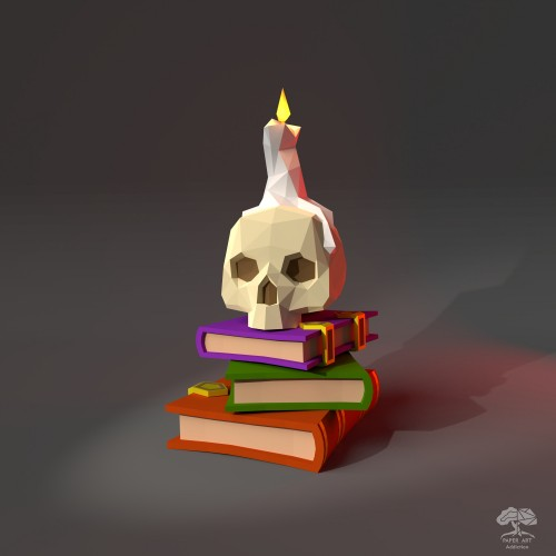 Halloween Skull with Candle